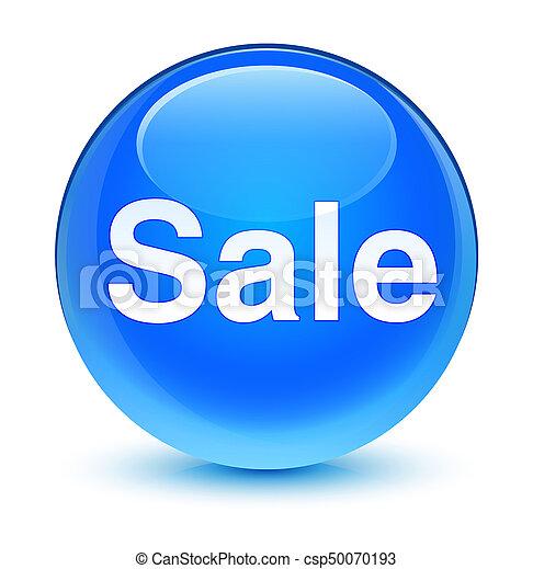 Sale glassy cyan blue round button - csp50070193