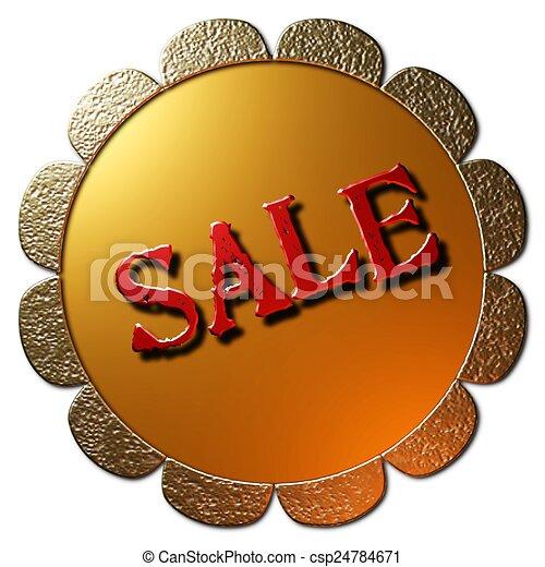 Sale (Golden Seal Red Lettering) - csp24784671