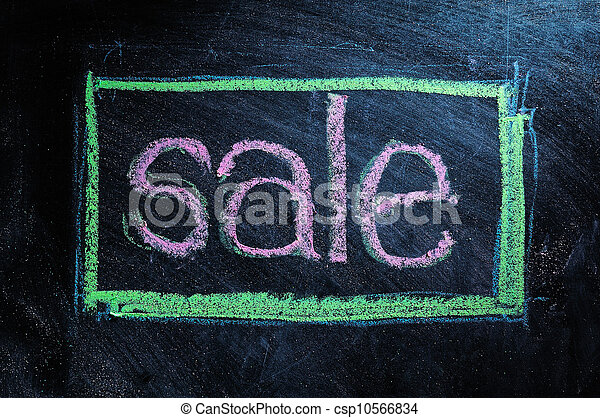 Sale handwritten with white chalk on a blackboard - csp10566834