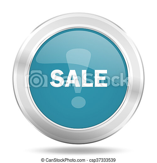 sale icon, blue round glossy metallic button, web and mobile app design illustration - csp37333539