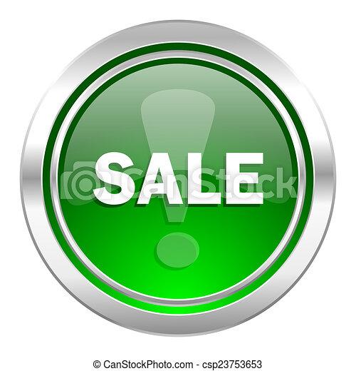 sale icon, green button - csp23753653