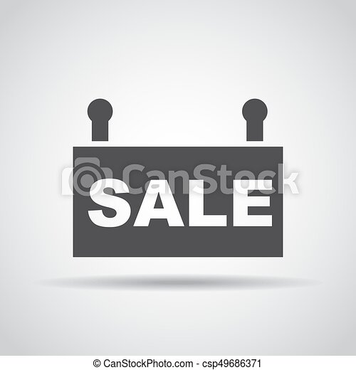 Sale icon with shadow on a gray background. Vector illustration - csp49686371