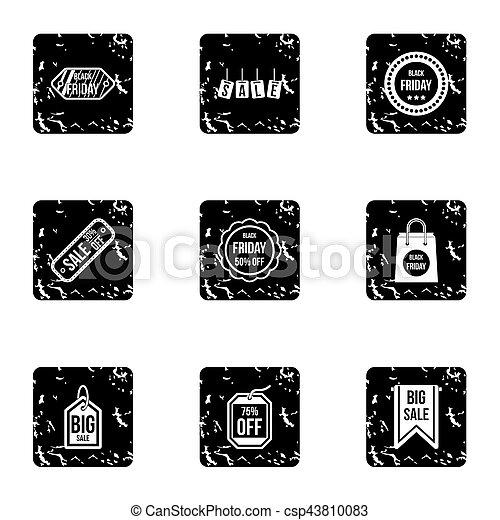 Sale icons set, grunge style - csp43810083