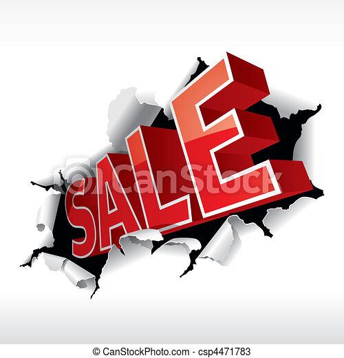 """SALE"" inscription break through white background. Vector Illustration. - csp4471783"