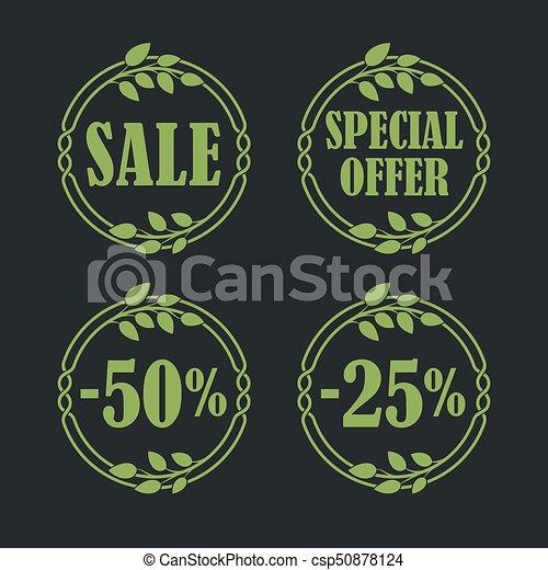 Sale label price tag banner badge in flora design - csp50878124