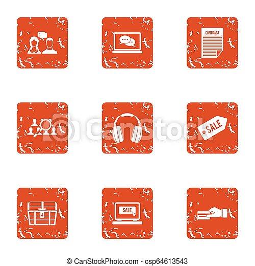 Sale paper icons set, grunge style - csp64613543