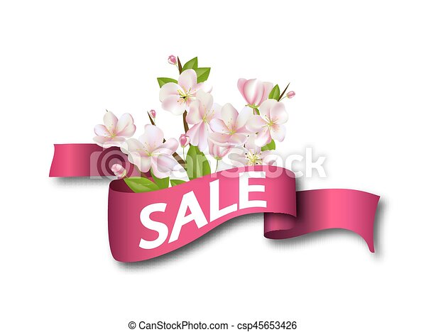 Sale pink ribbon with flowers season discount banner design with sale pink ribbon with flowers season discount banner design with cherry blossoms and petals mightylinksfo