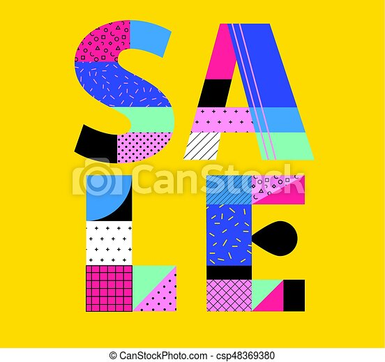 sale poster with memphis colorful geometric design pattern summer