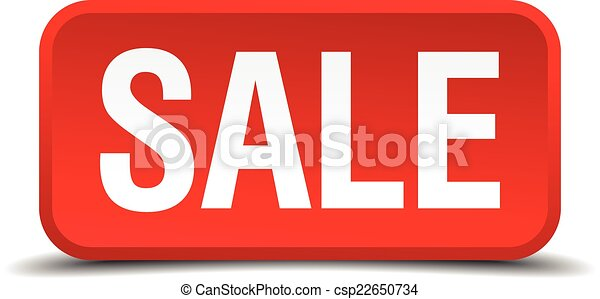 Sale red 3d square button isolated on white - csp22650734