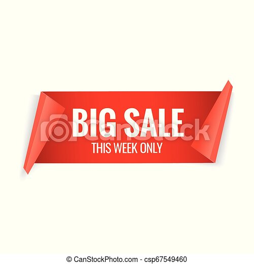 Sale red banner. Realistic paper ribbon - csp67549460