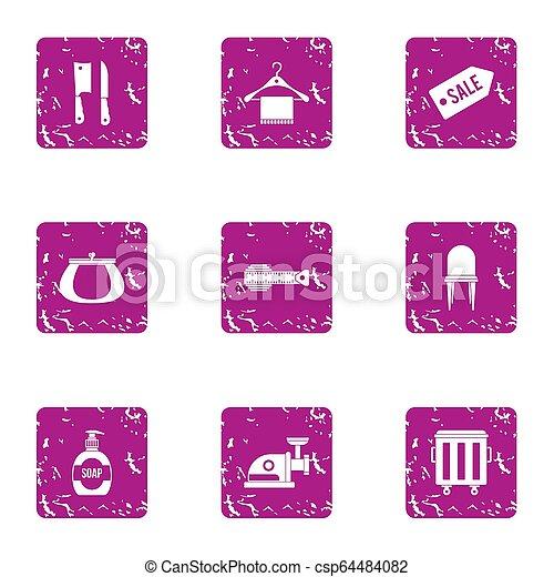 Sale shop icons set, grunge style - csp64484082