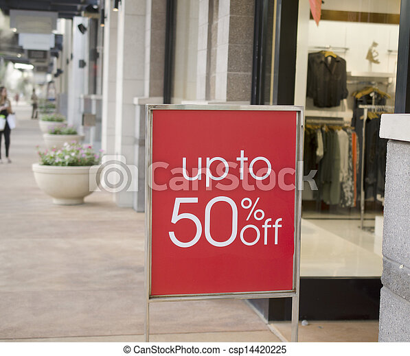 Sale sign outside retail store mall - csp14420225