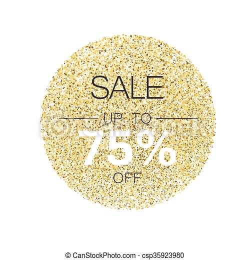 Sale Tag Template Circle With Gold Glitter Particles On Vector