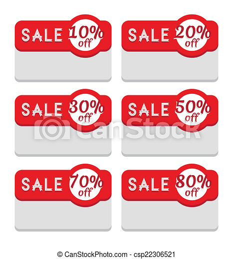 Sale Tag Template Various Discount Percentage Discount And