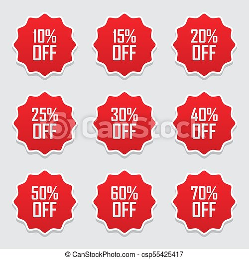 sale tags set vector badges template 10 off 15 20 25 30 40 50 60 70 percent sale label symbols discount promotion flat icon with long shadow