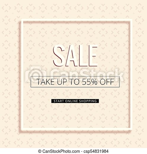 Sale take up to 55% off white frame pink background vector image.