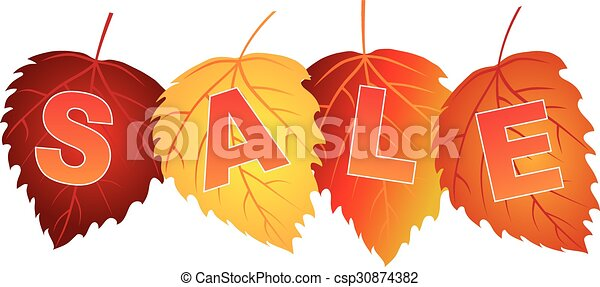Sale Text on Fall Colors Birch Leaves - csp30874382