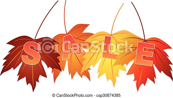 Sale Text on Fall Colors Maple Leaves - csp30874385