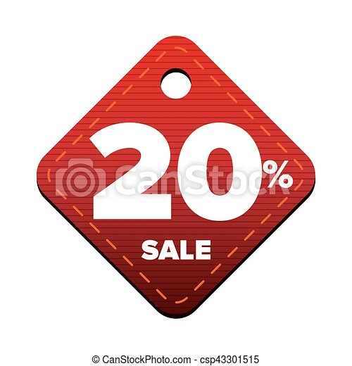 Sale twenty percent pricetag red vector - csp43301515