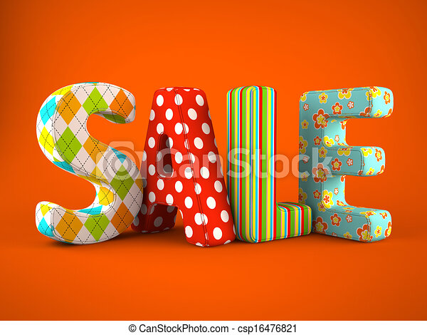 Sale word colorful fabric on grey background - csp16476821