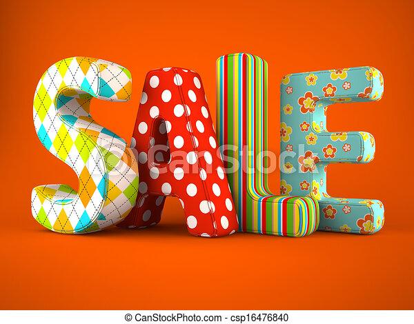 Sale word fabric on orange  background - csp16476840