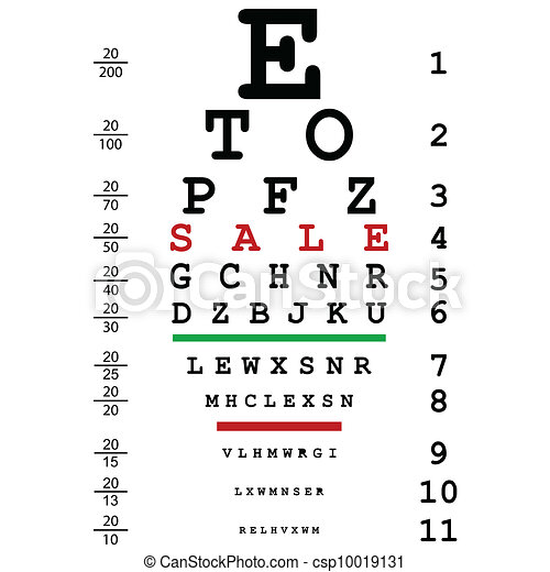 Sales advertising with optical eye test used by doctors - csp10019131