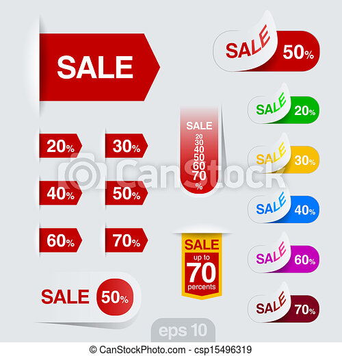 sales badge sticker vector design discount sale collection sales