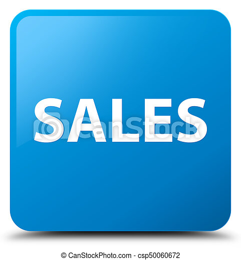 Sales cyan blue square button - csp50060672