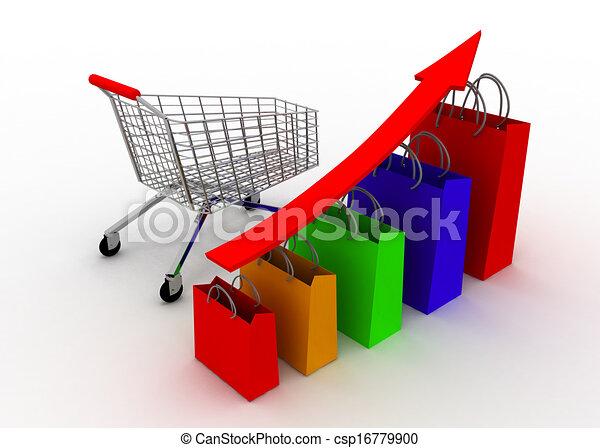 sales grow chart with cart - csp16779900