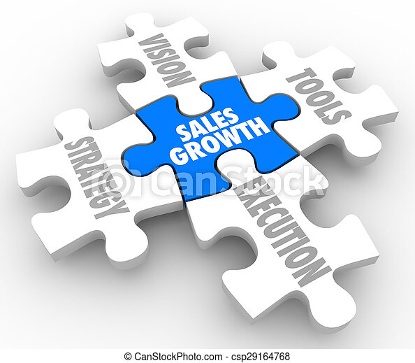 Sales Growth Puzzle Pieces Vision Strategy Tools Execution - csp29164768