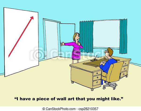 Sales growth wall art. Business cartoon showing sales growth chart ...