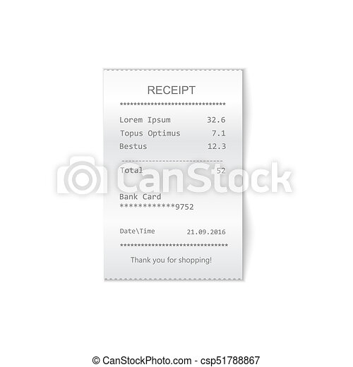 sales printed receipt. Bill atm template, cafe or restaurant paper financial check - csp51788867