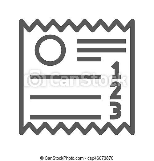 Sales Receipt Thin Line Vector Icon - csp46073870