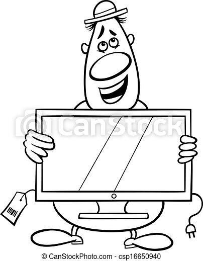 Salesman cartoon coloring page. Black and white cartoon illustration ...