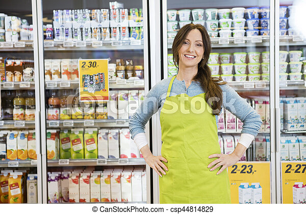 Saleswoman Standing With Hands On Hip Against Refrigerator - csp44814829