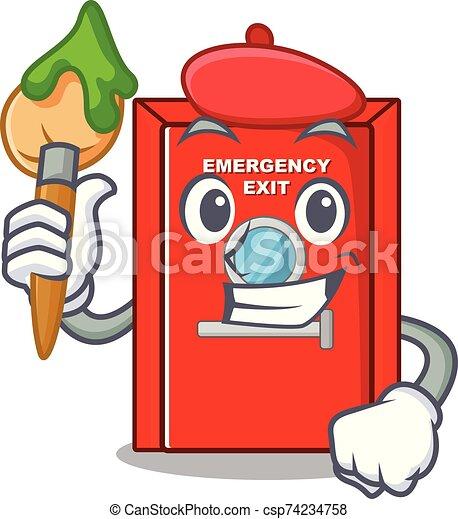 salida, carácter, artista, puerta, emergencia - csp74234758