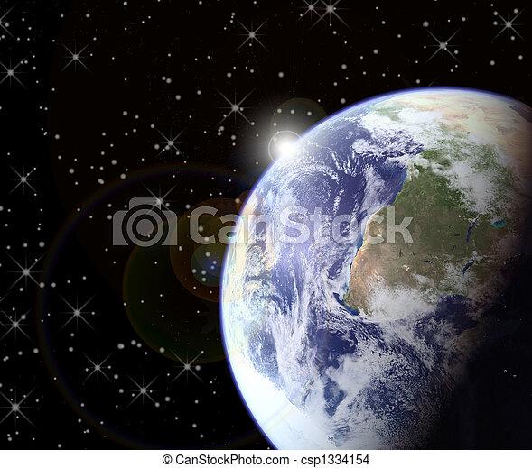 Al amanecer del espacio - csp1334154