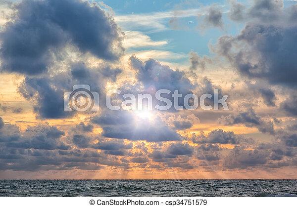 salida del sol, mar - csp34751579