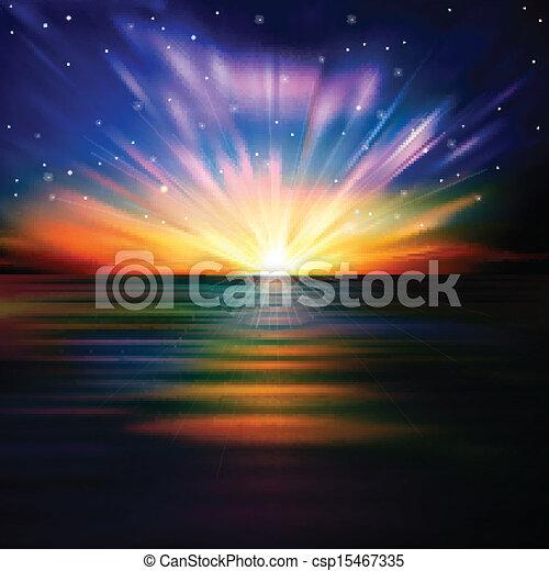 salida del sol, resumen, mar, estrellas, plano de fondo - csp15467335