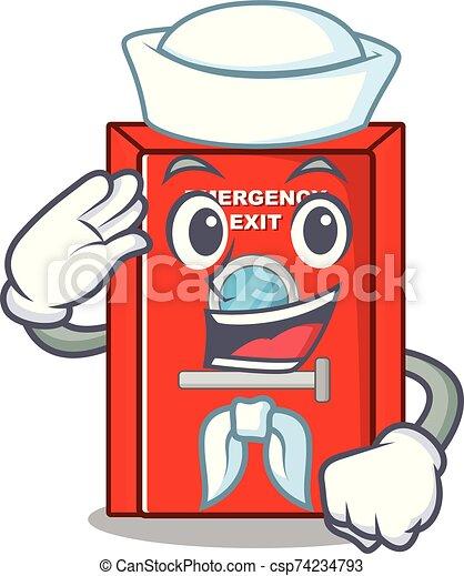 salida, marinero, carácter, puerta, emergencia - csp74234793