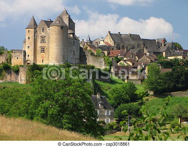 Salignac, Castle, Village - csp3018861