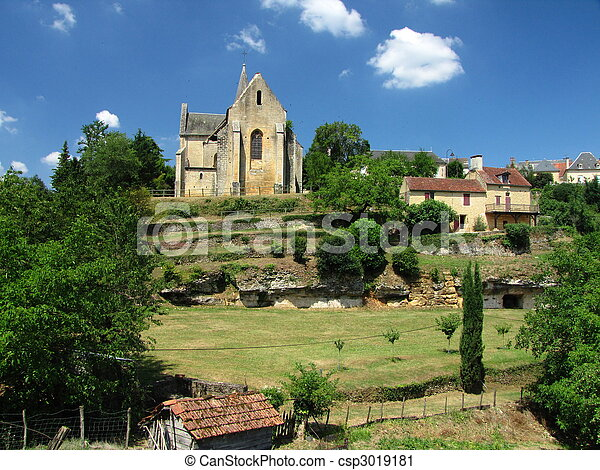 Salignac, Church, Village - csp3019181