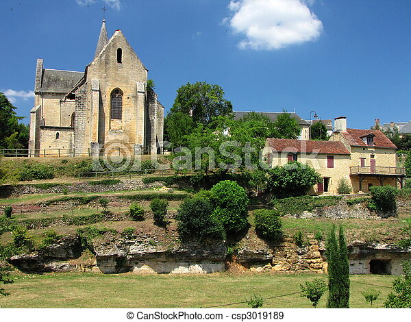 Salignac, church, village, - csp3019189