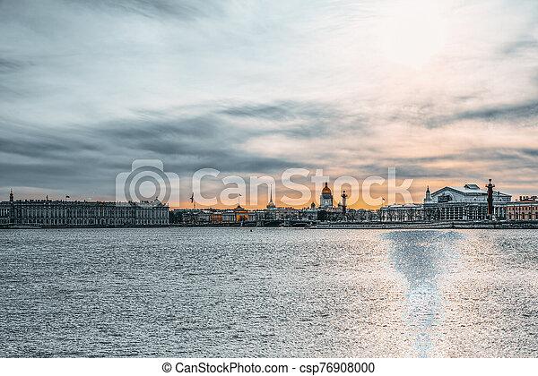 saliva, santo, russia., rostral, vasilievsky, petersburg., island., columnas - csp76908000