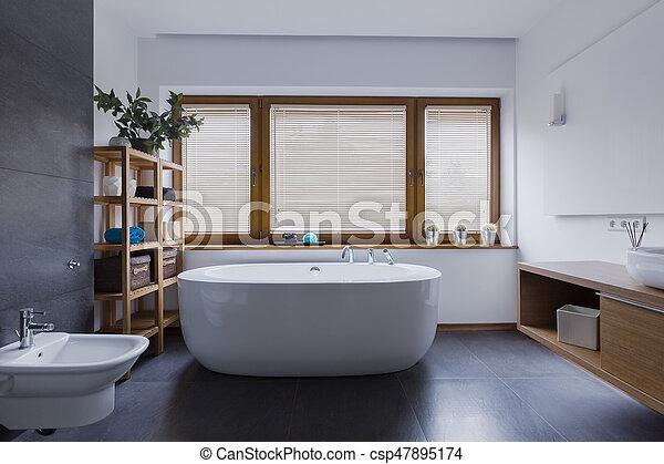 salle bains, baignoire, pied