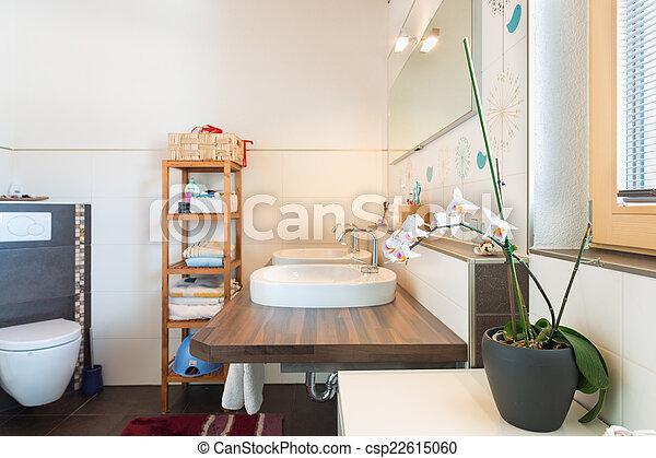 salle bains, bois, détail, décoration, planche, bassin