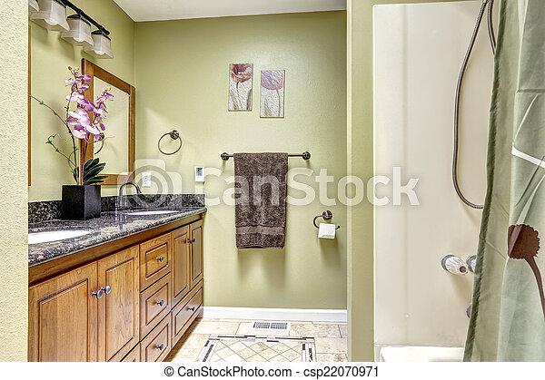 Salle bains, bois, lumière, tone., cabinet, clair, vert, granit ...