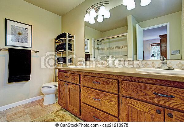 salle bains, bois, wtih, cabinet, miroir, vanité
