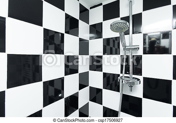 Salle bains, checkered, moderne, douche, noir, blanc, tiles.
