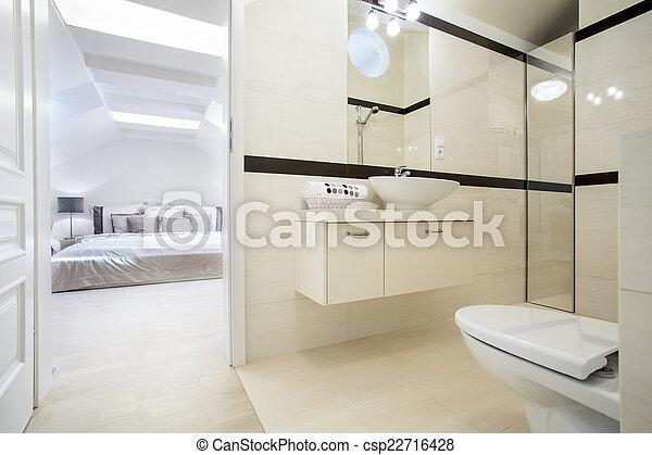 salle bains, connecté, chambre à coucher
